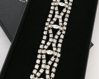 1950's Wide Rhinestone Bracelet