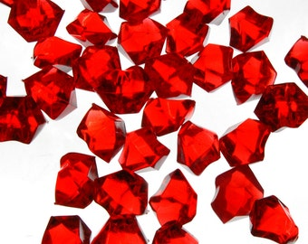Vase Fillers 4 lbs Table Scatters Acrylic Ice Red - Approximately 750 pcs