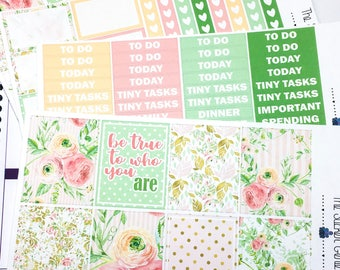 Blushing Garden Weekly Kit | Planner Sticker, Weekly Kit, floral weekly kit, Vertical Planner Kit, spring weekly kit, flower planner sticker