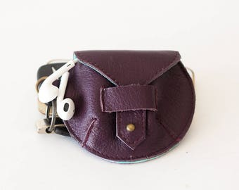 Purple leather case for earphones, earbuds pouch headphone holder cable holder organizer earphone keeper coin purse