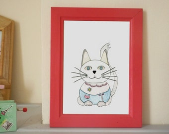 Cat wearing clothes - original watercolor and ink illustration
