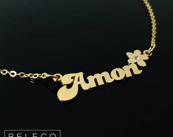 Name Necklace Flower, Flower Girl Necklace, Flower Girl Jewelry, Flower Girl Gift, Flower Style Name Necklace, Birthstone Name Necklace Gift