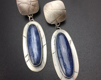 Tripwire texture earrings, sterling silver and kyanite, denim blue, textured, patina, MTS