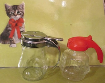 Syrup Pitchers--2- Glass--Federal Tool Corp.- AND Dripcut  Syrup Pitcher--OLD-Small-Very Cute.  USA.  Two for One  Price.