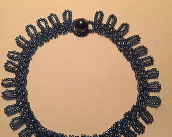 """Handmade 12"""" Blue and Silver Beaded Choker Necklace"""