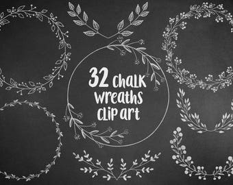 Chalkoboard wreaths clipart, floral, design elements, hand drawn overlay, wedding clipart, chalk leaves, laurel, download