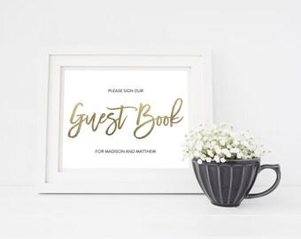 Wedding Sign Template | Guest Book Sign | Wedding Sign | Printable Wedding Sign | 5x7 & 8x10 | EDN 5435