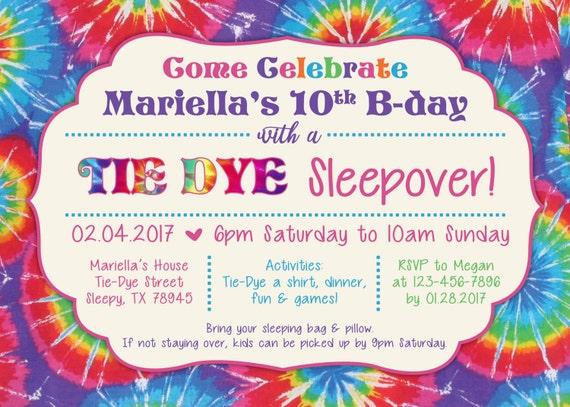 Tie Dye Party Invitation Tie Dye Sleepover Digital File