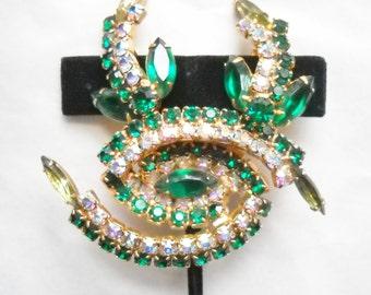 Jewelry Set Vintage Juliana Jewelry Rhinestone Brooch Cluster Earrings Emerald Green A B Juliana D E  Statement Jewelry Mid Century