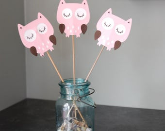 Owl Centerpieces, 8 Pcs, Owl Birthday, Owl Baby Shower, Its a Girl, Whoos 1