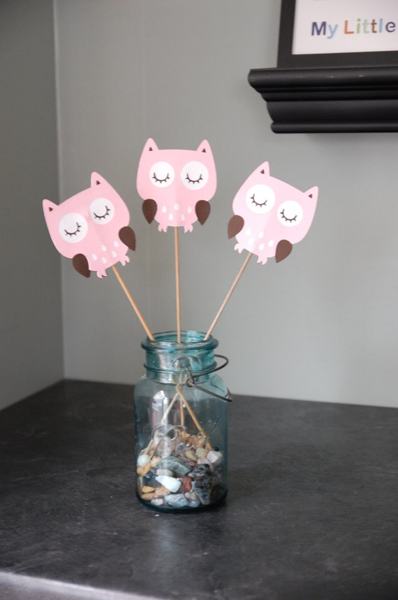 Items Similar To Owl Centerpieces 8 Pcs Owl Birthday Owl Baby