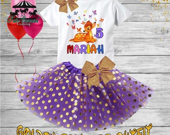 5th Birthday Tutu Outfit, Bambi Birthday Outfit, Birthday shirt, Tutu Set (gt148)