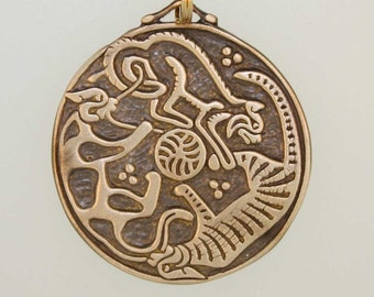 Bronze Triple Cats Triskele Pendant- a Celtic design