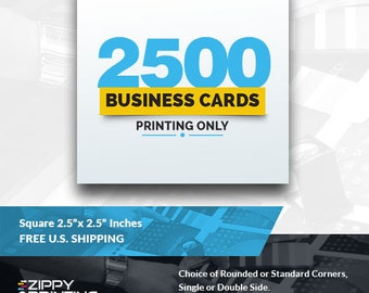 """2500 Square Business Cards 2.5"""" x 2.5"""",Business Cards Printing Rounded Corners, Matte or Glossy"""