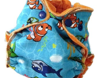 Newborn Clownfish Fitted - Cloth Diaper - Reusable - 6-14 lbs - Ready to Ship - NB Diaper - Nemo Dory Diaper