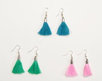Blue tassle earrings Green tassel earring Pink tassle earrings Blue tassel earring Green tassle earring Pink tassel earrings