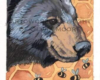 Black Bear and Bumble Bee Watercolor Painting - Original Painting - Woodland Wall Art - Woodland Nursery Decor - Bear Home Decor Art