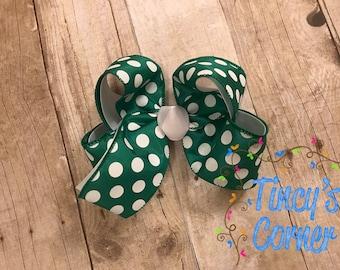 Green and White Polka Dot Hair Bow Large