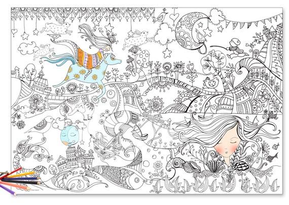Riesen Färbung Poster für Erwachsene und Kinder illustriert