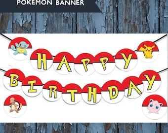Pokemon, pokemon banner, pokemon birthday, pokemon party, pokemon birthday banner, pokmon, pokemon decoration, pokemon party decoration