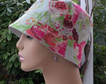 Womens Chemo Hat Bucket Hat Cancer Hat Shabby Chic Blue  Made in the USA  SMALL - MEDIUM