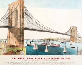 Vintage hand colored Brooklyn Bridge lithograph, Currier & Ives, 1881. The Great East River Suspension Bridge print.