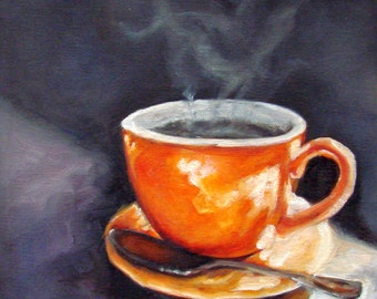 DRINK!.....Oil Painting, Vermont country art, Archival PRINT of original painting 8 by 8 or 8 by 10 with TEXT....Choice & Free Shipping!
