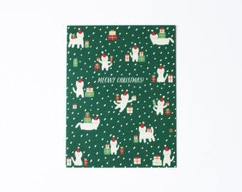 Meowy Christmas Card, Cat Christmas Card, Kitten Christmas Card