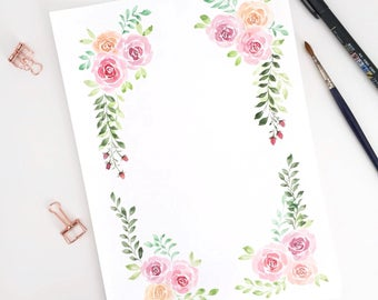 Hand painted watercolor sheet to download and print and write yourself the phrase you like.