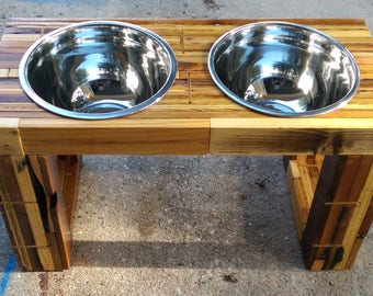 "2"" Thick Reclaimed Butcher Block Raised / Elevated Feeder"