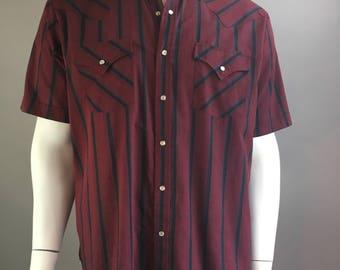 Vintage Western Button Down Shirt// 70s Cowboy Shirt Pearl Snap Buttons// Urban Cowboy Shirt