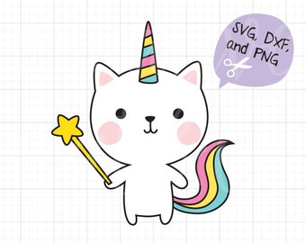 Cute Cat SVG Birthday Wish Unicorn Cat svg EPS Files for Cricut Caticorn Kitty with Star Magic Wand svg Cut File eps Clipart Clip Art