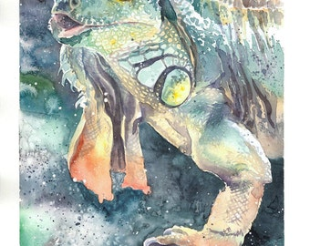 Green Iguana watercolor artwork, example of custom pet portrait  from photo, pet memory, animal personalized art, commission