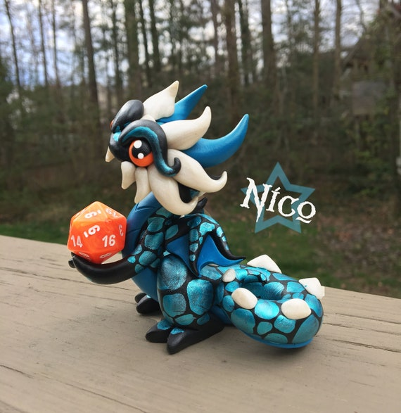 Polymer Clay Dragon Dice Holder- Black, Teal, and Pearl White: Nico