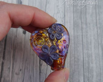 Multicoloured Heart Bead, Handmade lampwork glass bead, Flower Bead, Hearts and Flowers, Purple, Gold, Green, pendant bead, valentines gift