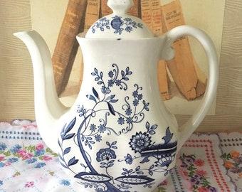 Vintage Blue Onion Enoch Wedgwood Tunstall Teapot
