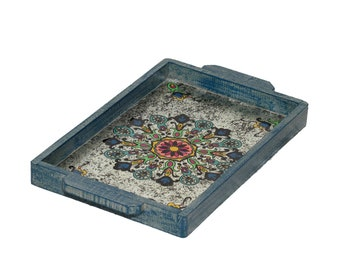 Mandala Wood and Glass Tray with handles