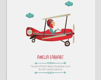 Illustration,Print, Amelia Earhart, Tutticonfetti, Wall art, Art decor, Hanging wall, Printed art, Decor home, Gift idea, Sweet home.