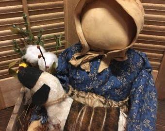 Primitive Prairie doll and sheep