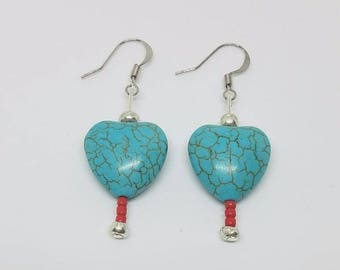 Earrings - Turquoise Hearts