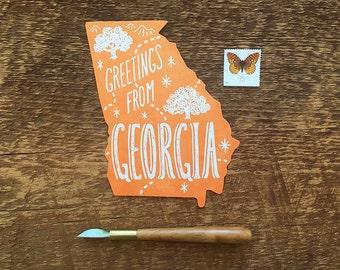 Georgia Postcard, Greetings from Georgia, Die Cut Letterpress State Postcard