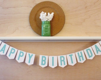 "Happy Birthday Banner - Birthday Party Sign - Custom Colors - 4"" Pennants"