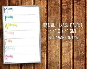 "Dry Erase Week Planner Magnet  - 5.5"" x 8.5"" Size - Organizer Meal Planning Fridge Magnet - Dry Erase"