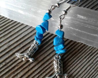 Turquoise Boot Earrings