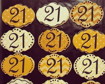 Number 21 Decorated Sugar Cookies