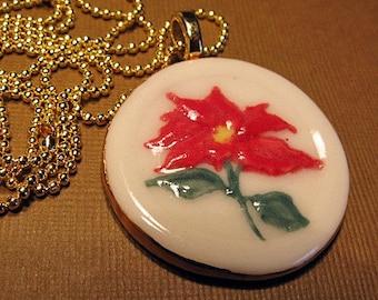 "Poinsettia Porcelain Pendant Necklace Christmas Jewelry 24"" chain"
