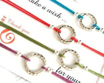 Red Bracelet Friendship Bracelet Red String Sterling Circle Bracelet Red String of Fate Karma Bracelet String Minimalist Bracelet Bracelet