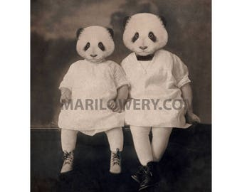 8 x 10 Inch Collage Art Print, Panda Art, Sisters Gift, Nursery Art, Animal Wall Decor, Animals in Clothes, Panda Print, frighten
