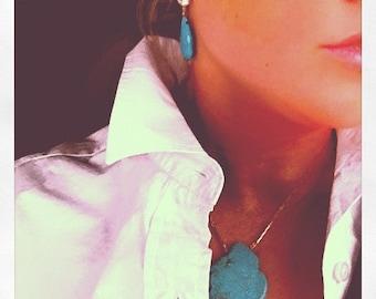 Turquoise Slab Geode Slice  Necklace