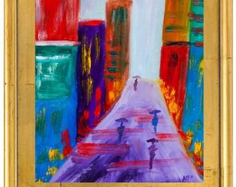 Pallet Knife Painting  Natasha Petrosova Original Oil Art Impressionism Big City